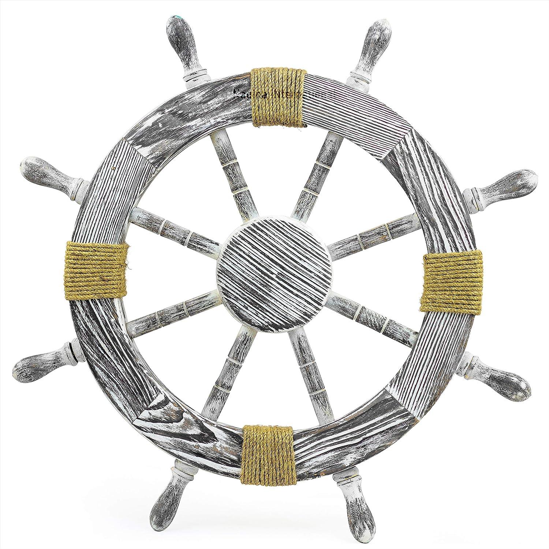 Nautical Washington Mall Pine Wood Free Shipping Cheap Bargain Gift Decorative Rope Ship Wheel - Captain Maritime