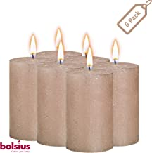 BOLSIUS Rustic Full Metallic Rose Gold Candles – Set of 6 Unscented Pillar Candles – Rose Gold Candles with a Full Metallic Coat – Slow Burning – Perfect Décor Candle – 130/68m 5 X 2.75 Inches