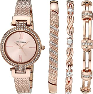 Anne Klein Women's Swarovski Crystal Accented Watch and Bracelet Set, AK/3584