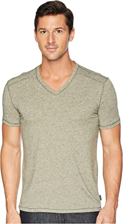 Short Sleeve Soft Heather V-Neck with Pickstitch K3775U2B