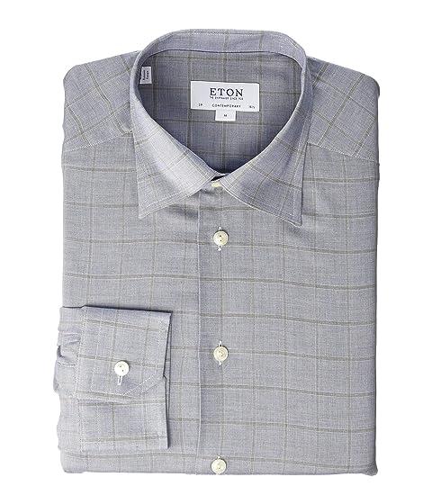 Eton Contemporary Fit Windowpane Flanella Shirt