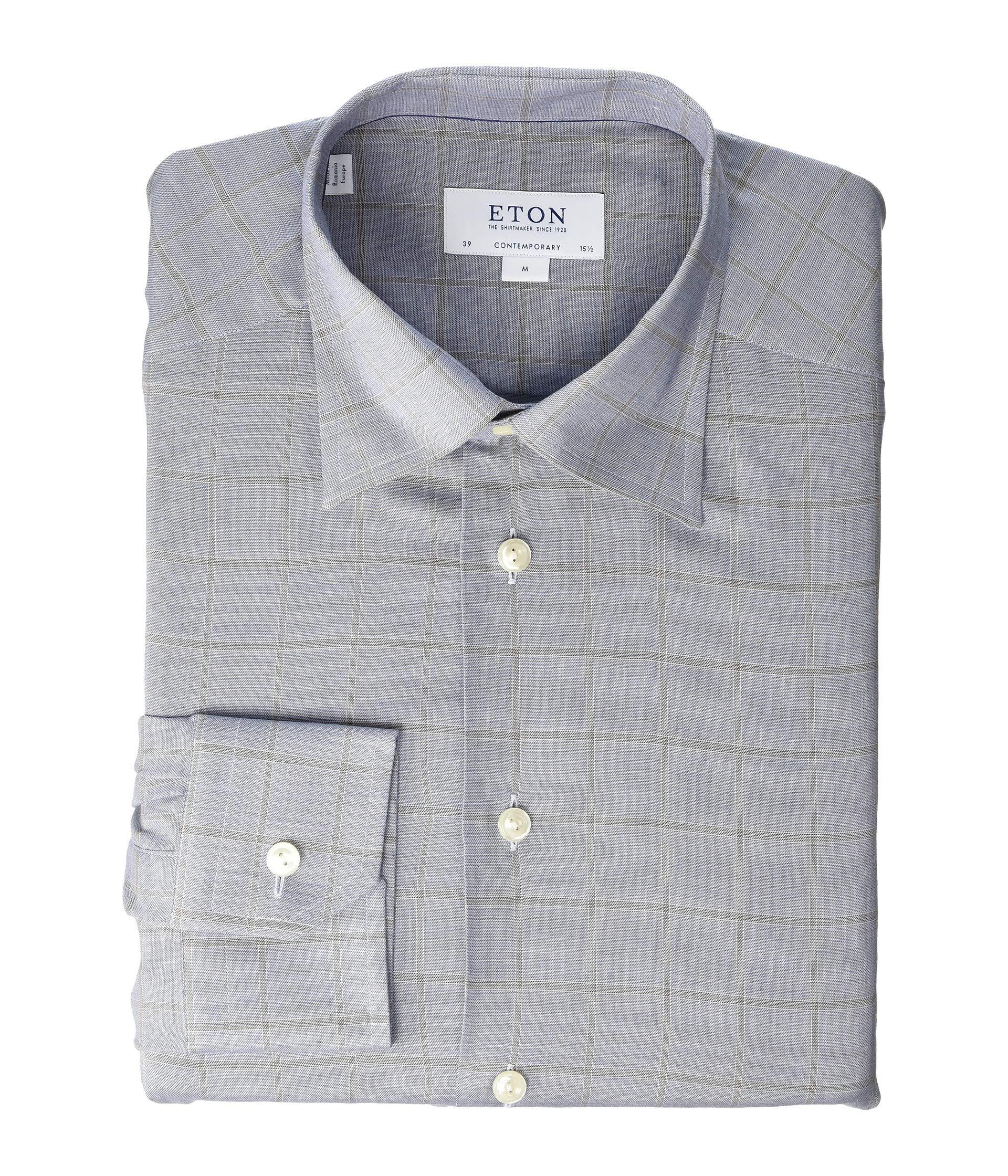Eton Contemporary Fit Windowpane Flanella Shirt At Luxuryppos