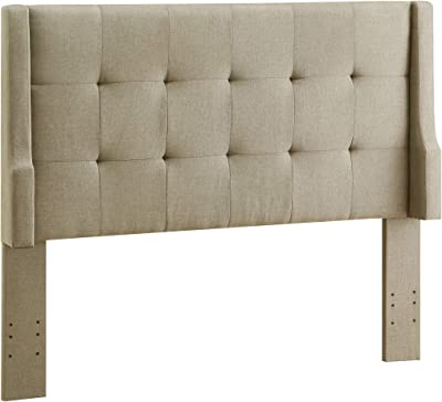 Benjara Wood and Fabric Full Queen Size Headboard with Wingback Design, Beige