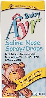 Baby Ayr Saline Nose Spray/Drops, Spray Bottles 1 Fl Oz (Pack of 6)