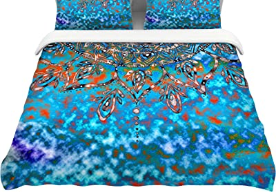 104 x 88 Kess InHouse Dan Sekanwagi Butterfly Elements Red Orange Cotton King Duvet Cover