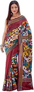 SareesofBengal Women's Pure Silk Handloom Kantha Stitch Saree Maroon