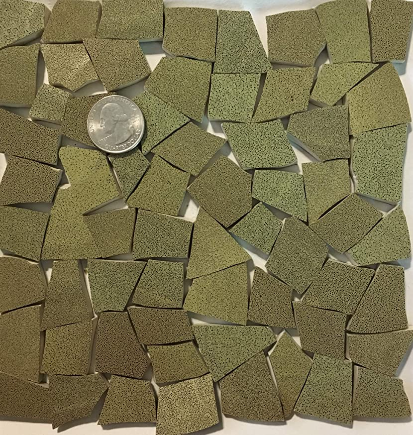 Mosaic Art & Crafts Supply ~ Green & Brown Speckled Tiles (B869)