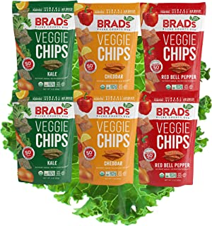 Brad's Plant Based Organic Veggie Chips, Variety Pack, ( 2 Kale, 2 Cheddar, & 2 Red Bell Pepper), 6Count