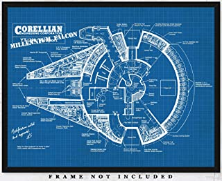 Original Millenium Falcon Blueprint Wall Art : Unique Room Decor for Boys, Men, Girls & Women - (11x14) Unframed Picture - Great Gift Idea Under $15 for Star Wars Fans and Enthusiasts!