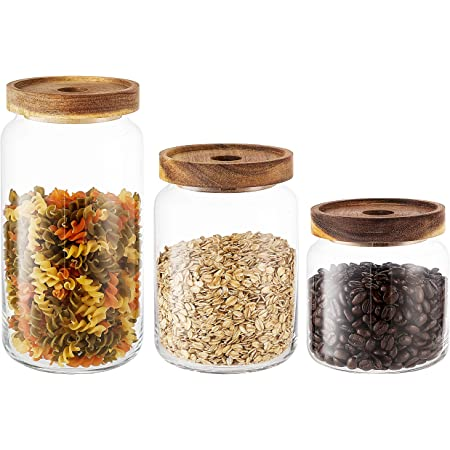 KMwares 3PC Stackable Clear Glass Food Jars/Canisters with Airtight Seal Acacia Wood Lids for Kitchen/Bathroom/Pantry Storage, Serving Pasta, Candy, Snack, Leaf Tea, Coffee Bean, Dry food