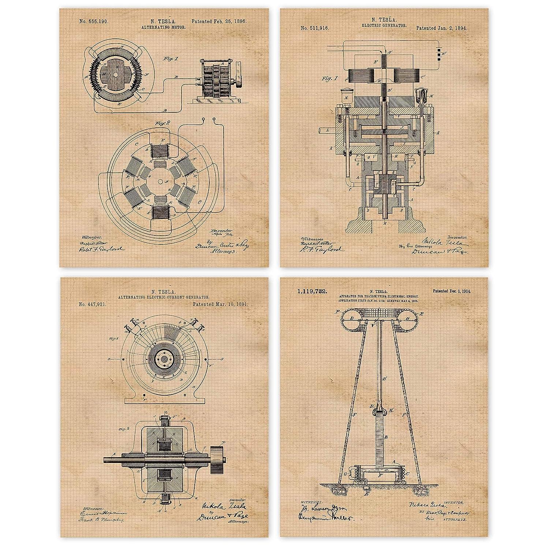 2021 model Ranking TOP1 Vintage Science Tesla Patent Poster Prints 4 Unfr 8x10 of Set