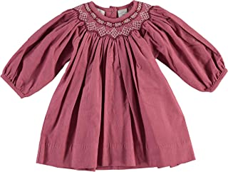 Carriage Boutique Girls Long Sleeve Bishop Dress Smocked Purple Flowers