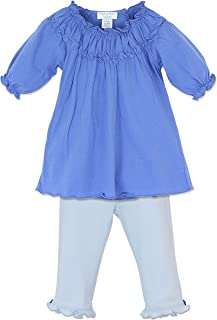 Feather Baby Girls Clothes Pima Cotton Ruched Tunic Top and Pants Set
