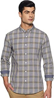 Amazon Brand - Symbol Men's Checkered Slim Fit Full Sleeve Cotton Casual Shirt