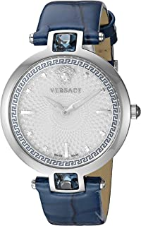 Versace Women's Crystal Gleam Stainless Steel Swiss-Quartz Watch with Leather-Calfskin Strap, Blue, 18 (Model: VAN020016)