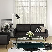 DHP Nia Modern, Black Faux Leather Futon