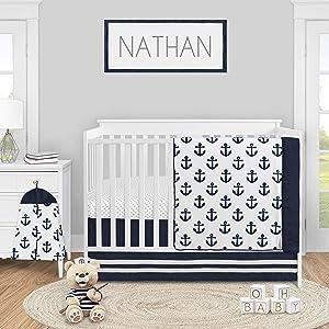Sweet Jojo Designs Navy Blue White Anchors Baby Boy Girl Nursery Crib Bedding Set - 4 Pieces - Nautical Theme Ocean Sailboat Sea Marine Sailor Anchor Grey Polka Dot Unisex Gender Neutral