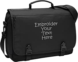 Personalized Black Port Authority Messenger Briefcase with Four Lines of Embroidery