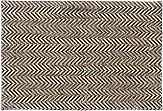Relaxdays Zigzag Doormat, Jute Door Mat, Handmade Outdoors Dirt Catcher, 40x60 cm, Natural/Black