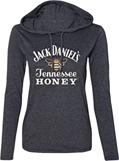 Women's Tennessee Honey Poly Cotton Lightweight Long Sleeves Black Hoodie