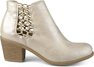Brinley Co. Womens Faux Leather Stacked Wood Heel Booties