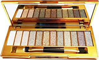 Glitter Eyeshadow Palette,12 Colors Sparkle Shimmer Eye Shadow Highly Pigmented Long Lasting Makeup Set Gold