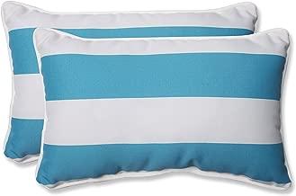 Pillow Perfect Outdoor Cabana Stripe Rectangular Throw Pillow, Turquoise, Set of 2
