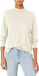 Daily Ritual Camiseta de Manga Larga caída, rayón y Elastano, canalé Ancho, con Cuello Cerrado Camisa para Mujer