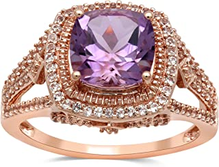 10kt Rose Gold 8x8mm Cushion Shape Light Amethyst and Round White Topaz Halo Ring, Size 7