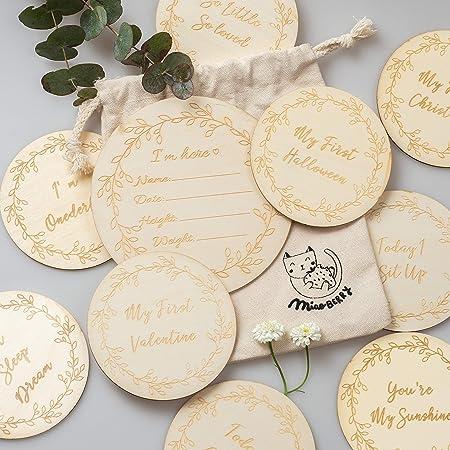 Wooden Baby Milestone Discs set of 14,discs Engraved Milestone Discs Wooden Monthly Milestone Markers Baby Shower Gift Newborn Gifts