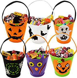 "JOYIN 6 Packs 6.5"" Candy Felt Holder Buckets with Handle for Trick-or-Treating Bags, Halloween Party Favors, Halloween Sna..."