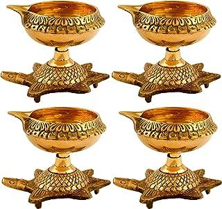 Hashcart (Set of 4) Handmade Indian Puja Brass Oil Lamp - Golden Diya Lamp Engraved Design Dia with Turtle Base