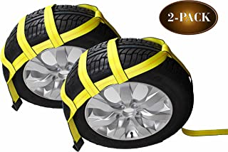 DC Cargo Mall Tow Dolly Basket Straps with Flat Hooks | 2-Pack | Car Wheel Straps for Auto Hauling