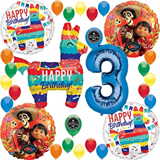 Coco Birthday Party Supplies Burro Pinata Fiesta Celebration (Choose Your Own Age) Deluxe Balloon Decoration Bundle for (3rd Birthday)