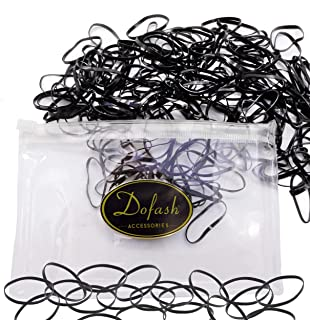 Dofash 200Pcs Large Hair Rubber Bands Black Elastic Hair Braiding Ties Soft Elastic Hair Bands for Toddlers Kids Women