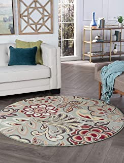 Tayse Dilek Seafoam 8 Foot Round Area Rug for Living, Bedroom, or Dining Room - Transitional, Floral