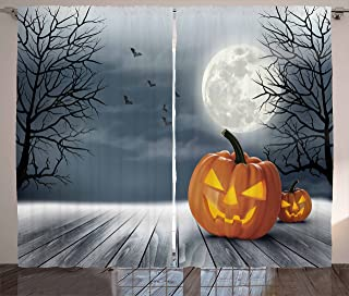 Ambesonne Halloween Curtains, Cold Foggy Night Dramatic Full Moon Pumpkins on Wood Board Trees Print, Living Room Bedroom Window Drapes 2 Panel Set, 108 W X 63 L inches, Grey Orange Black
