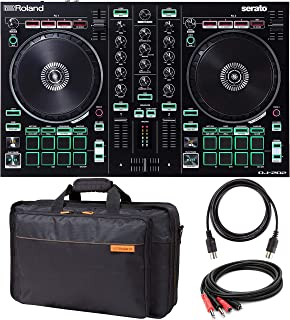 Roland DJ-202 DJ Controller with Built-In TR Drum Machine Bundle with Roland CB-BDJ202 Carrying Bag for DJ-202, Hosa 2-Meter Dual RCA Stereo to 1/4-Inch Cable, and Blucoil 5-FT MIDI Cable
