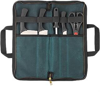 Denifiter Koch Reise Messer Tasche Tragbare Messer Rolltasche für Männer und Frauen, Wasserdicht gewachstes Segeltuch, Starker Reißverschluss, 5 Schlitze Dunkelgrün