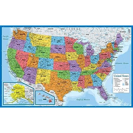 Cartina Geografica Degli Stati Uniti Di America.Poster Con Carte Geografiche Xxl Giant Carta Usa Con Tutti Gli Stati Poster Educativo In Scala 1 3 325 Milioni 140 X 100 Cm Amazon It Casa E Cucina