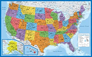 "Laminated USA Map - 18"" x 29"" - Wall Chart Map of The United States of America - Made in The USA - Updated for 2020 18"" x 29"""