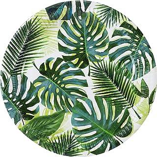 Talking Tables Set van 8 (250 ml / 9oz) papieren borden met groene tropische palmbladeren Decoraties voor Hawaiiaans verja...