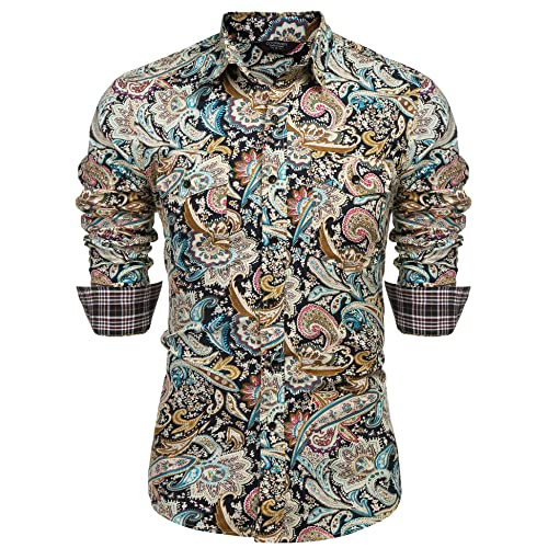 66d502bce589 COOFANDY Men s Floral Dress Shirt Slim Fit Casual Paisley Printed Shirt  Long Sleeve Button Down Shirts