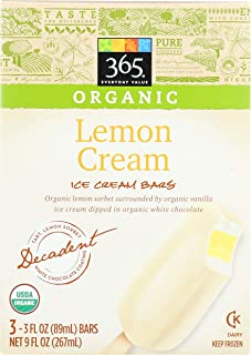 365 Everyday Value, Organic Lemon Cream Ice Cream Bars, 3 ct, (Frozen)