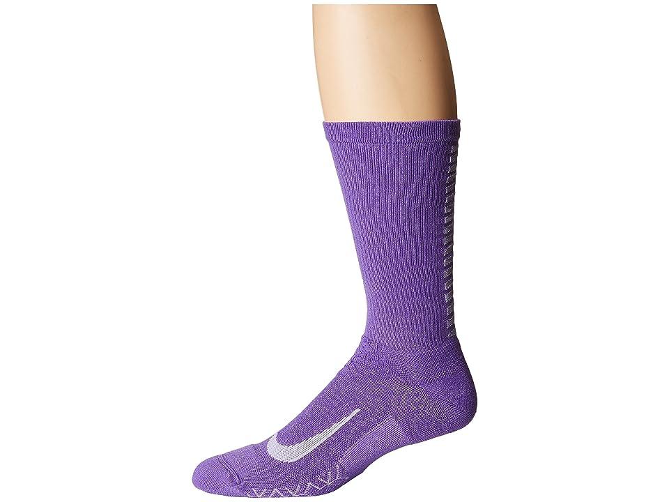Nike Elite Running Cushion Crew Socks (Action Grape/Purple Agate) Crew Cut Socks Shoes
