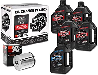 Maxima Racing Oils 90-119015C Sportster Synthetic 20W-50 Chrome Filter Complete Oil Change Kit, 160. Fluid_Ounces
