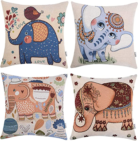 Zupro Set Of 4 Decorative Throw Pillow Case Cotton Linen Jacquard Craft Throw Pillow Cushion Cover Sofa Bench Living Room 18 X 18 45 X 45 Cm Cartoon Elephant