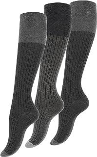 3 pares de Rodilla alta calcetines para mujer con algodón extra fino, gris