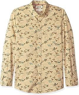 Amazon Brand - Goodthreads Men's Slim-Fit Long-Sleeve Printed Poplin Shirt
