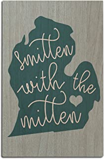 Lantern Press Michigan - Smitten with The Mitten (12x18 Wood Wall Sign, Wall Decor Ready to Hang)